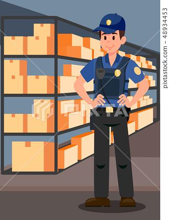 Officer in Evidence Room Flat Vector Illustration 48934453