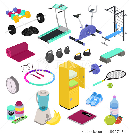 Fitness equipment vector gym club workout training with dumpbell bodybuilding weights in sportclub 48937174