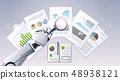 robot hand holding magnifying glass financial graphs report data analysis top angle view artificial 48938121