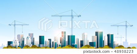 modern city construction site tower cranes building residential buildings cityscape sunset skyline 48938223