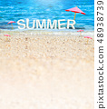 Summer (3D Rendering text) white word with beach 48938739
