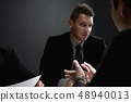 Detectives in interrogation room with suspect or 48940013
