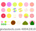 Illustration material of Japanese sweets 48942810