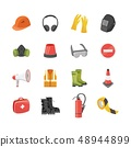 Icons set of safety equipment for work and protective clothing in flat cartoon style. 48944899