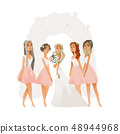 Beautiful young bride in wedding dress with bridesmaid, woman and girl. 48944968