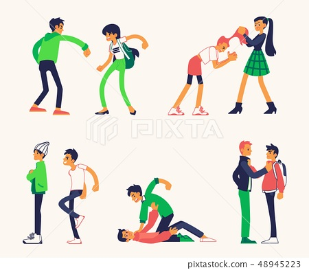 Vector teen man and woman fight punching 48945223