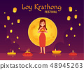 Thailand Loy Krathong and Yee Peng Festival in cartoon style. 48945263
