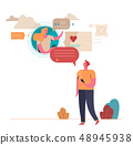 Young People communicate on the Internet. Virtual relationships. Vector illustration 48945938