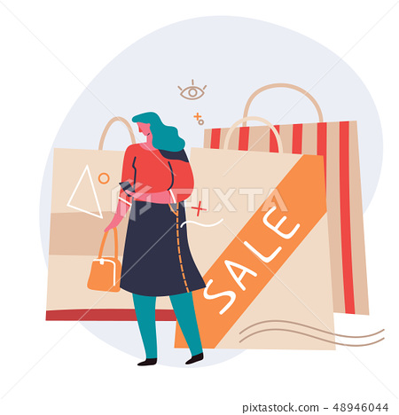 Shopping Online on Website or Mobile Application. Sale, consumerism and people concept. Young woman 48946044