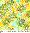 A seamless pattern with watercolour lemons and limes on a teal patchwork texture 48946488