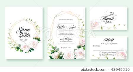 White rose wedding invitation card. Wedding invitation 48949310