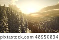 Winter Landscape with Foggy Mountain Sunset 48950834