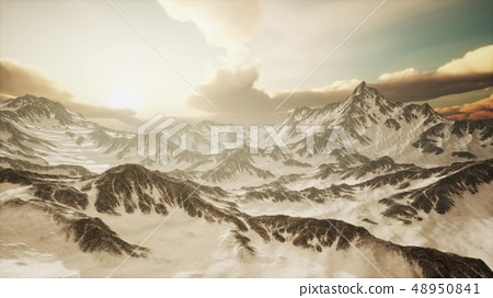 Panorama of High Snow Mountains at Sunset 48950841