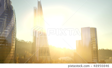 city skyscrapes with lense flairs at sunset 48950846
