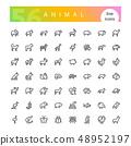 Animal Line Icons Set 48952197
