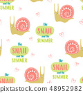 seamless cute snails pattern 48952982