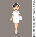 Cartoon woman doctor or nurse in white uniform 48958805
