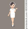 Cartoon woman doctor or nurse in white uniform 48958806