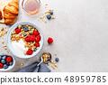 Yogurt with berries and granola in bowl 48959785