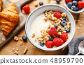 Yogurt with berries and granola in bowl 48959790