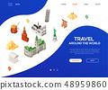 Travel around the world - colorful isometric web banner 48959860
