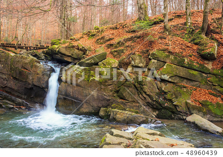 small forest waterfall in autumn 48960439
