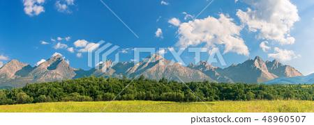 beautiful sunny day in mountainous countryside 48960507