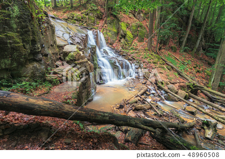 waterfall on the river among forest 48960508