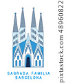 Line art Sagrada Familia Barcelona, famous Spain cathedral, vector illustration in flat style. 48960822