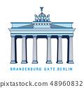 Line art Brandenburg gate, Berlin, Germany, European famous monument, vector illustration in flat 48960832