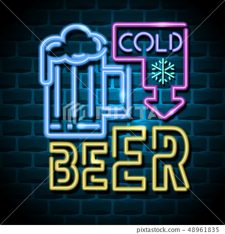 cold beer neon advertising sign 48961835
