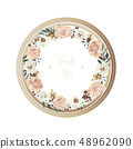 Luxury floral greeting card, wooden circle frame. 48962090