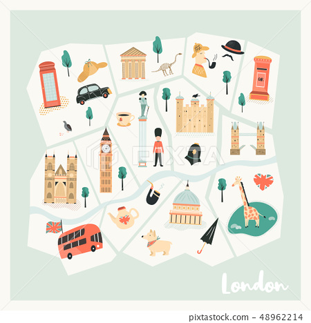Illustrated map of London with landmarks, symbols 48962214