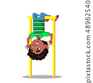 Sporty Little Boy Hanging On Horizontal Bar Upside Down Vector Flat Cartoon Illustration 48962540
