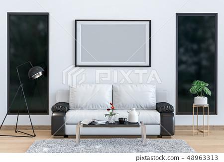 mock up poster frame interior living room  48963313