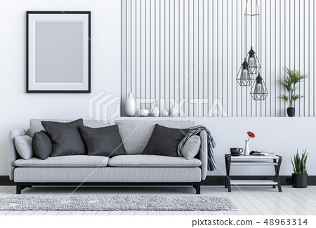 mock up poster frame interior living room  48963314