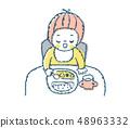 식사를하는 아기 핑크 48963332