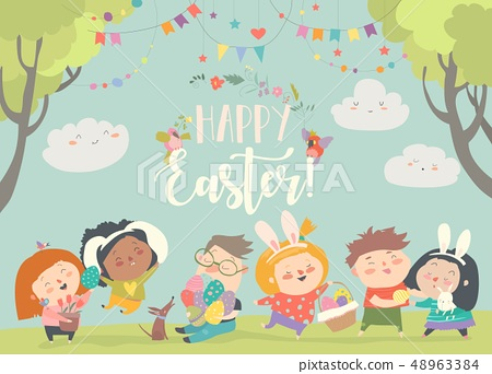 Happy children celebrating Easter in the forest 48963384