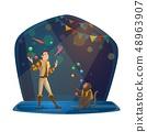 Man and monkey jugglers in big top circus 48963907