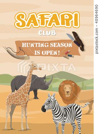 Hunting sport and safari, wild African animals 48964690