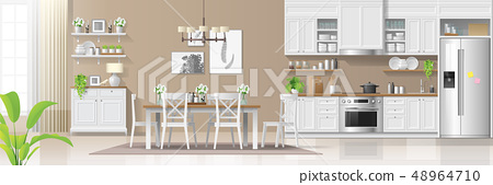 Kitchen and dining room  background 48964710