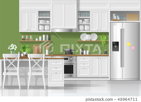 Kitchen in modern rustic style background 48964711