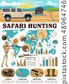 Hunting infographics, safari hunter and equipment 48964746