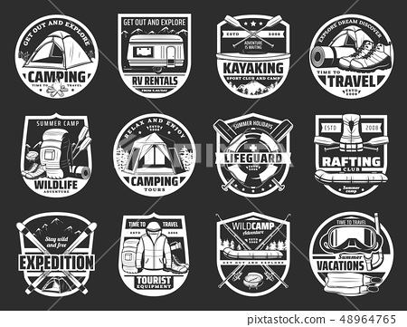 Tourism and travel symbols and signs isolated 48964765