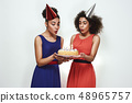 Happy birthday! Two attractive and young afro american women in party hats and evening dresses are 48965757