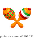 Illustration of two mexican decorated maracas. 48966031