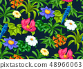 Seamless pattern with tropical flowers. Exotic tropical plants. 48966063