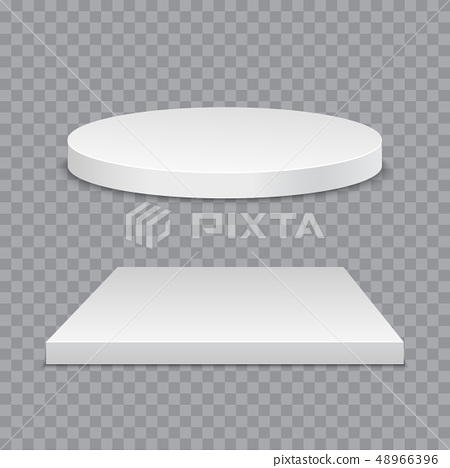 White podium. Round and square 3d empty podium with steps. Vector mockup 48966396