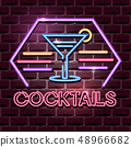 cocktails neon advertising sign 48966682