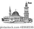 oman Islamic mosque vector sketch ilustracia 48968596